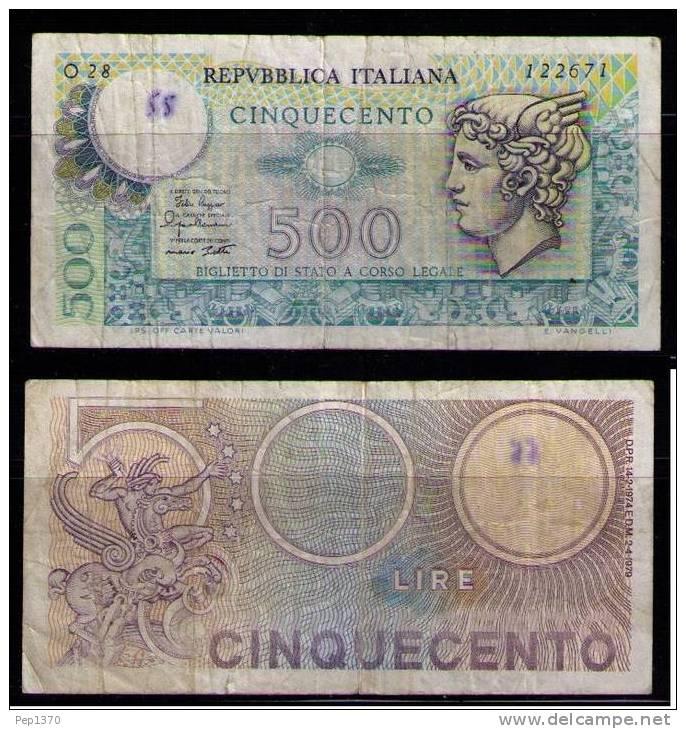 ITALIA 1976 BILLETE DE 500 LIRES - 1000 Lire