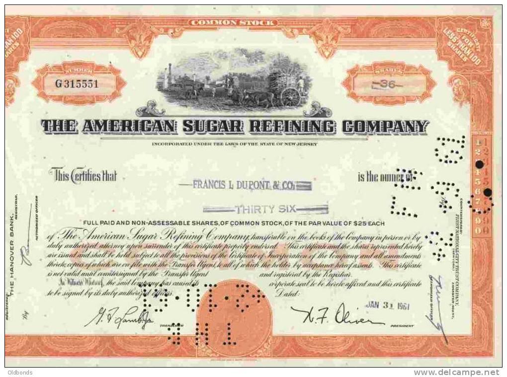 THE AMERICAN SUGAR REFINING COMPANY - Hist. Wertpapiere - Nonvaleurs