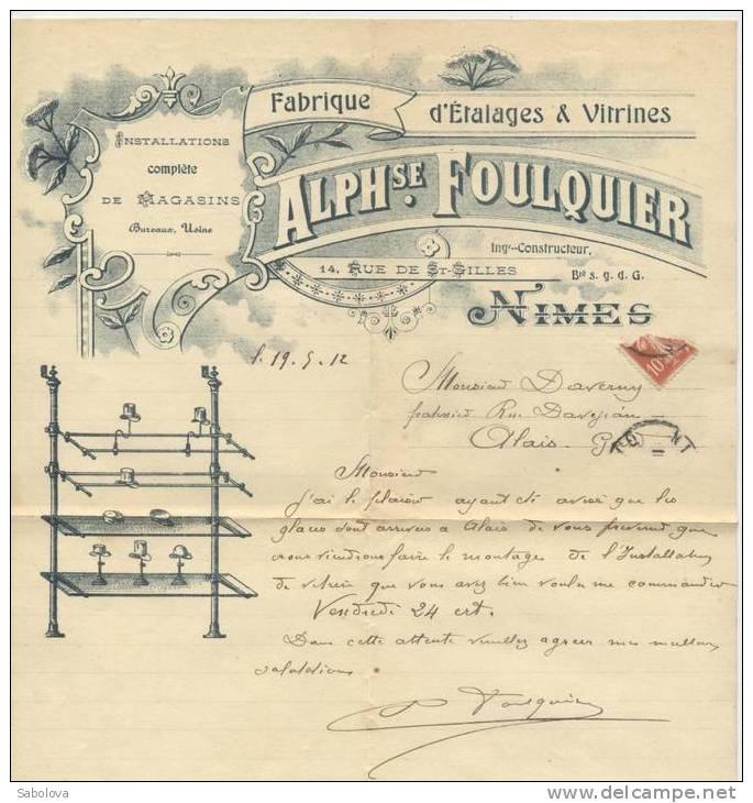 Facture Alphonse Foulquier étalages Et Vitrines  1912 - Alimentare
