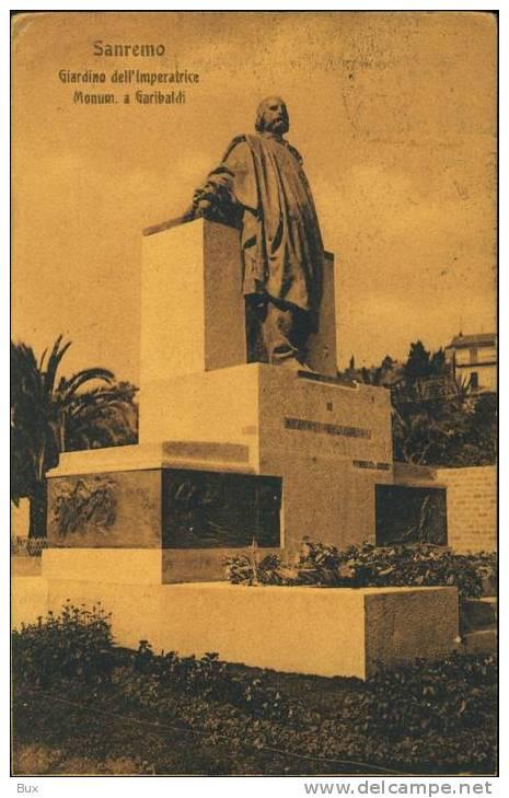SANREMO MONUMENTO A GIUSEPPE GARIBALDI   LIGURIA    VIAGGIATA  COME DA FOTO  FORMATO PICCOLO OPACA - San Remo