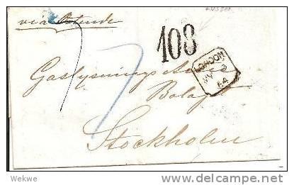 S004/ Briefumschlag,  London-Stockholm 1864, Lösen 108, Hamburg Im Oval + KSPA - Schweden
