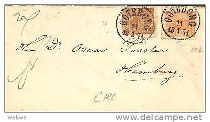 S039/  Brief,  Ex Göteborg Nach Hamburg 1871, Michel 10 B + 14 - Schweden