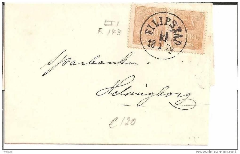 S052/ Filipstad 1879, Paar Facit 148 Nach Helsingborg - Schweden