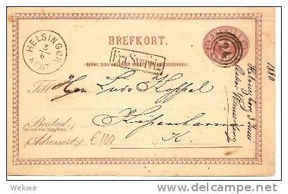 S250/ Fra Sverige (Helsingborg) 1880 Auf Ganzsache - Schweden