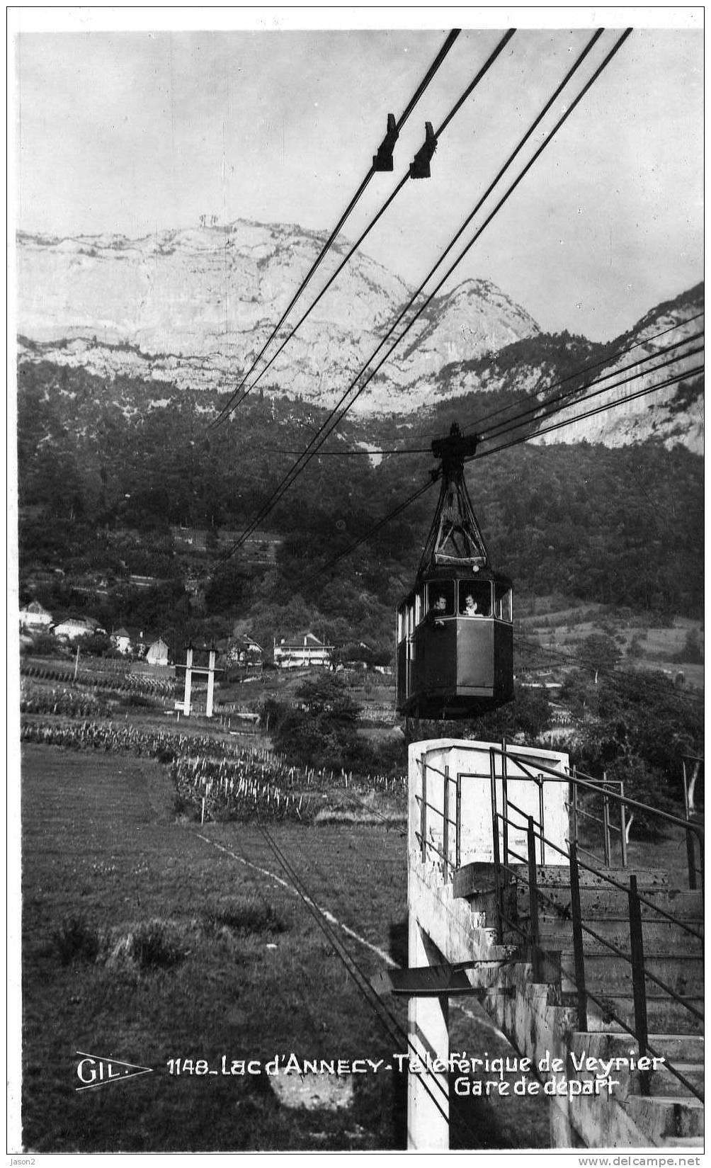 CARTE PHOTO  Noir Et Blanc  Telepherique De Veyrier Gare De  Depart Lac D'annecy Non Circulee - Veyrier