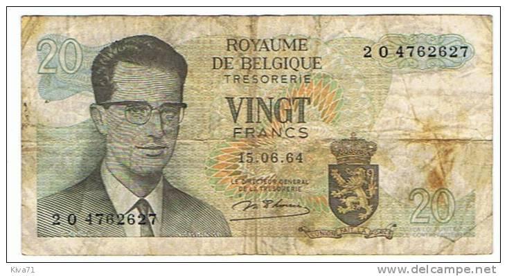 "20 Francs "" BELGIQUE ""   1964   Usagé - [ 6] Treasury"