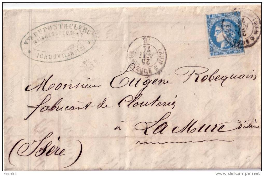 AMBULANT-IRUN A BORDEAUX 25-5-1871 / 20c BORDEAUX - LETTRE DE ICHOUX DANS LES LANDES - RARE AMBULANT SUR BORDEAUX - Storia Postale