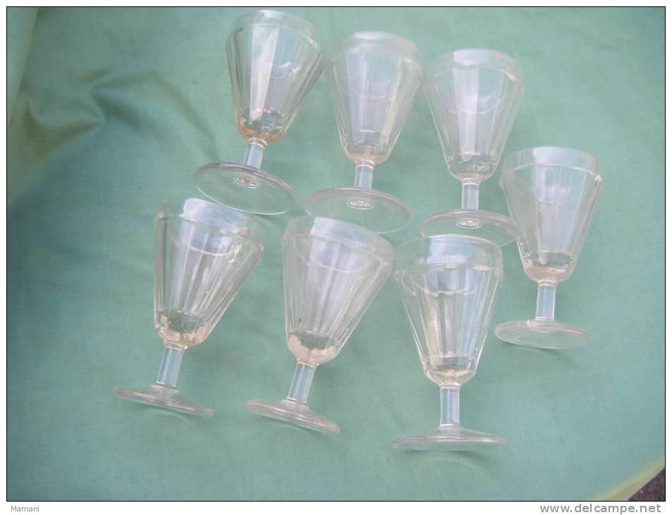 Lot De 7 Verres Anciens -bulles Dans Le Verrehauteur 10.2 Cm Diametre 6 Cm  -notez  2 Verres Semblent Plus Petits - Glasses