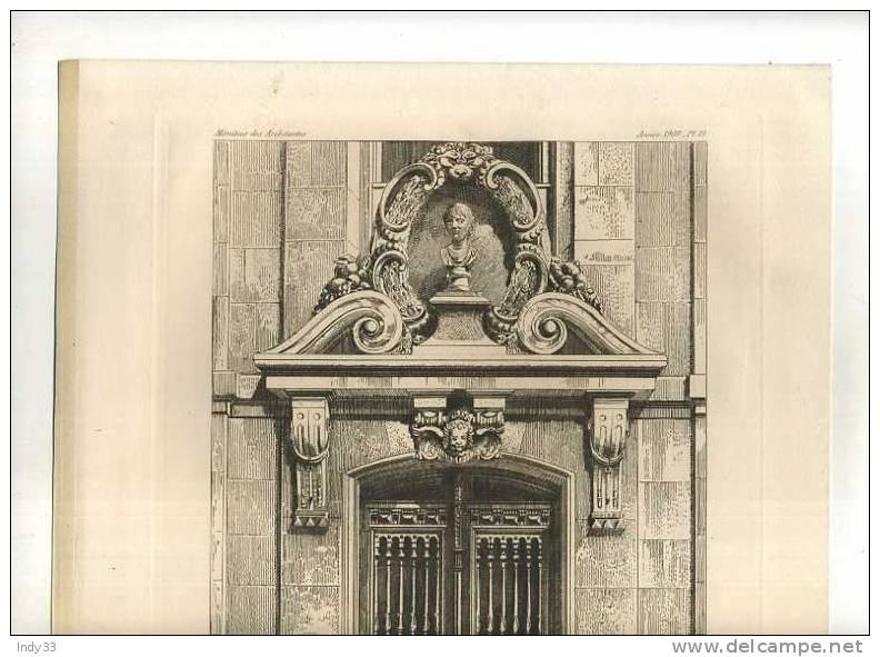 - PORTE LATERALE DE L´ANCIENNE CHAPELLE (luxembourg Paris). EAU FORTE DE KRIEGER B. 1899  PARUE EN 1900 . - Sculptures