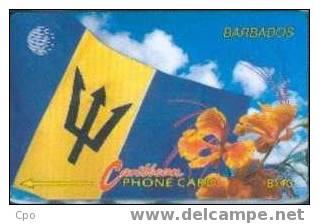 # BARBADOS 6 Flag And Flowers (14CBDA) $40 C&w   Tres Bon Etat - Barbades