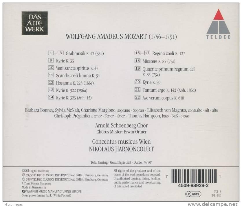 Mozart : Grabmisik, Regina Coeli, Ave Verum Corpus, Harnoncourt - Classique