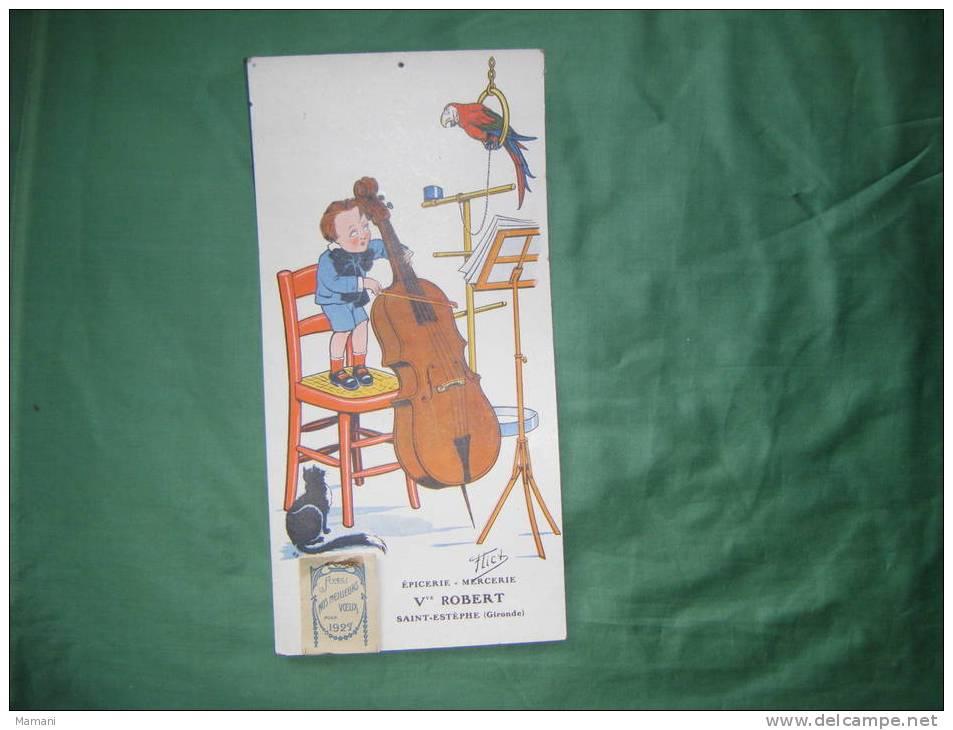 Calendrier Mural 34x16.5 Cm 1927-epicerie Mercerie Veuve Robert Saint Estephe Gironde-illustrateur Flick- - Calendriers