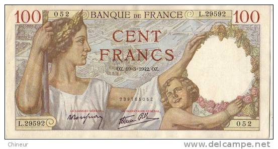BILLET 100 FRANC SULLY 19/03/1942 N°L29592 - 100 F 1939-1942 ''Sully''