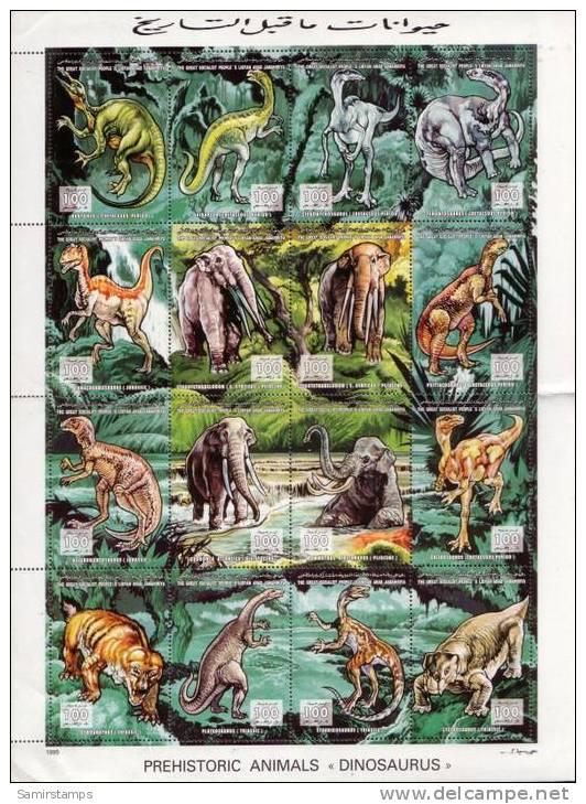 Libya Prehistoric Animals- Dinos- Sheetlet Of 16 Stamps - Libya