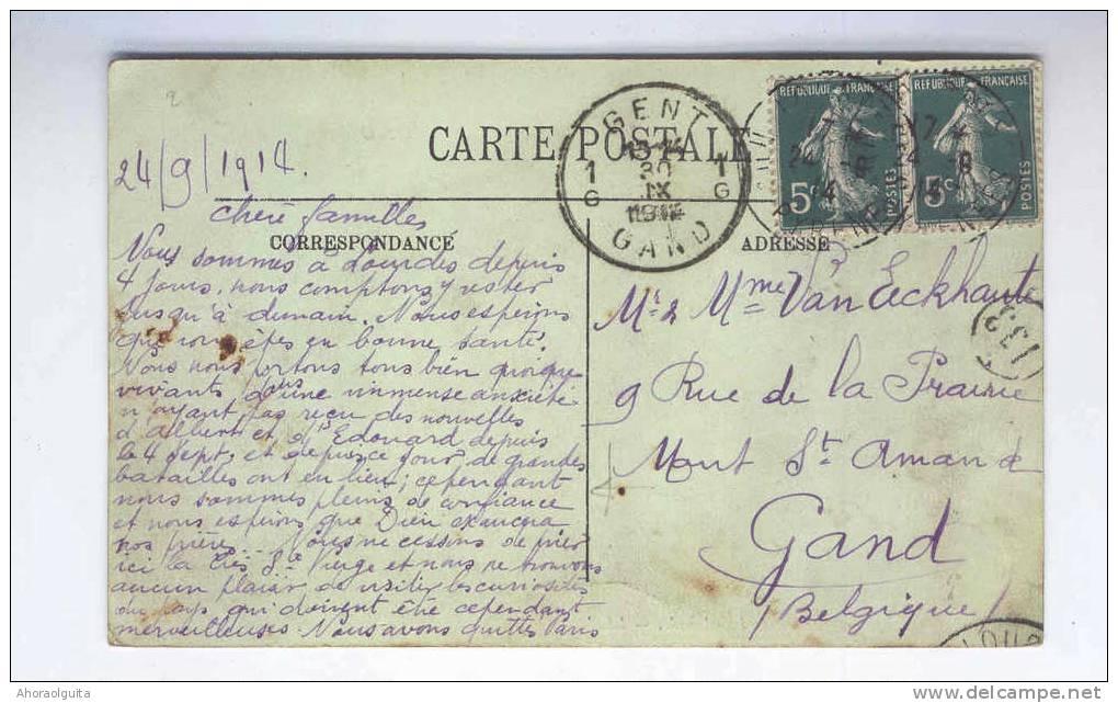 FRANCE Carte-Vue TP Semeuse LOURDES 24 IX 14 Vers GENT 30 IX 14 - 2è MOIS DE GUERRE  --  B1/069 - WW I