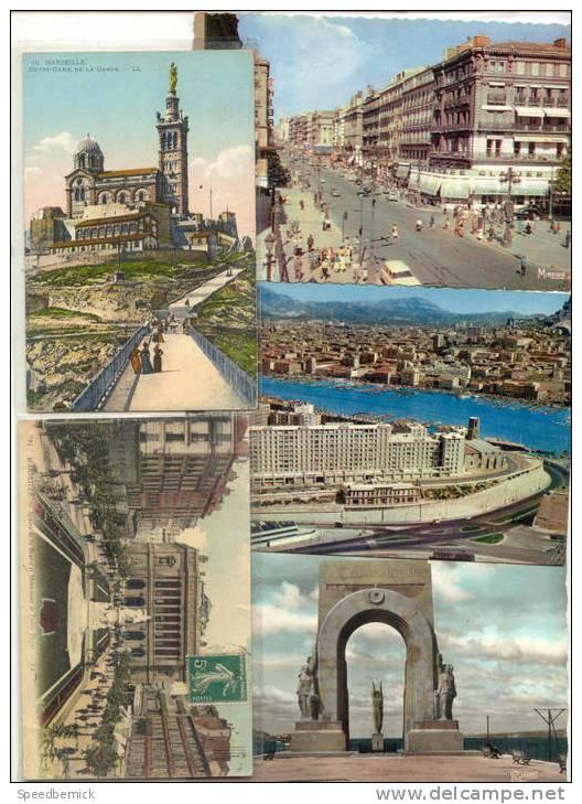 14159  Marseille , Cinq Cartes - Monument Heros Panoramique Vieux Port, Canebiere, Garde, Bourse - Canebière, Centre Ville
