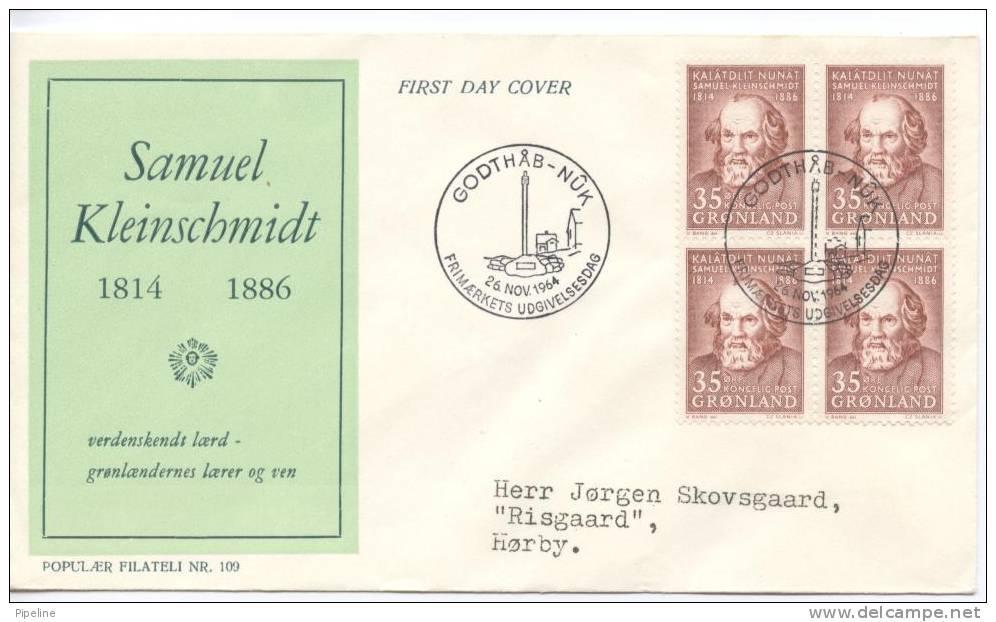 Greenland FDC In Block Of 4 26-11-1964 Samuel Kleinschmidt With Cachet - Greenland