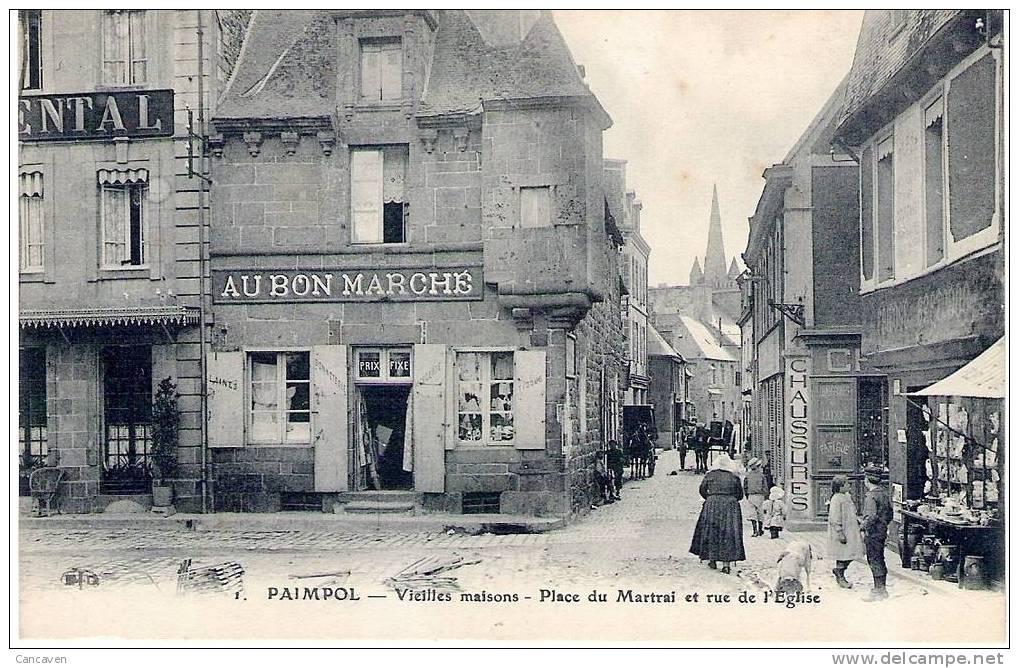 PAIMPOL - Vieilles Maisons Place Du  Martrai Et Rue De L'église - Paimpol