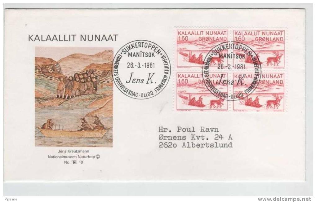 Greenland FDC Block Of 4 26.3.1981 The Painter Jens Kreutzmann  With Cachet  Sent To Denmark - Groenland