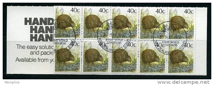 1990  New Zealand  0,40 NZD Kiwi Bird Definitive Booklet London Stamp World Cancel - Booklets
