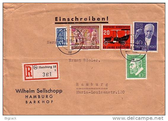 Berlin R-Brief Mif Minr.124,125, Bund 209,211 Hamburg 16.8.55 - Briefe U. Dokumente