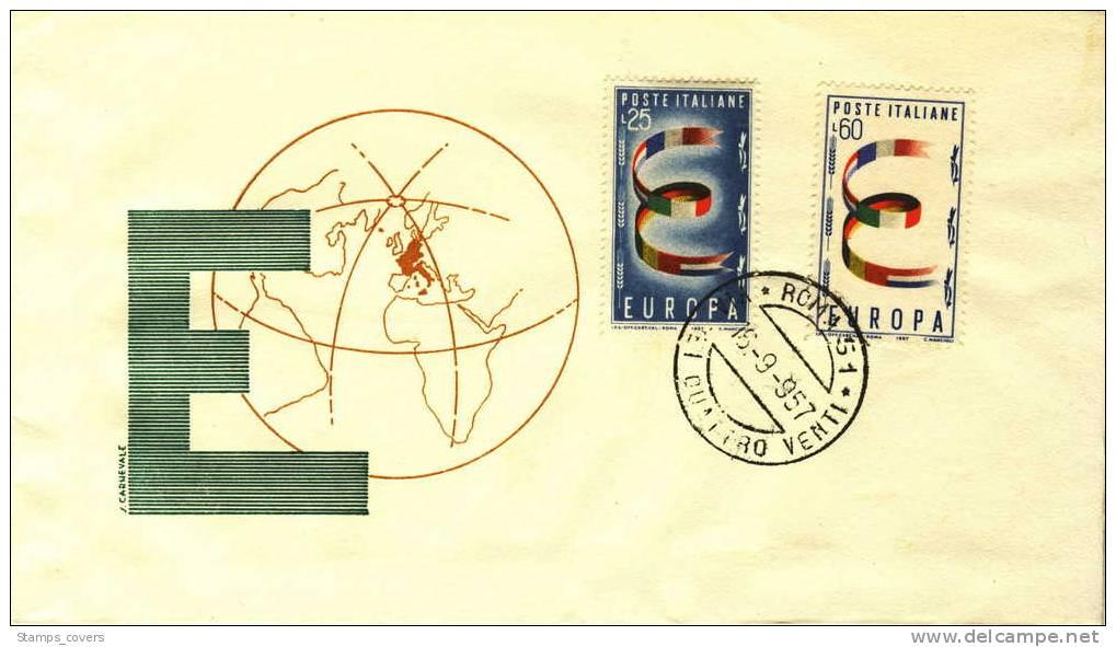 ITALY FDC MICHEL 992/93 EUROPA 1957 - Europa-CEPT