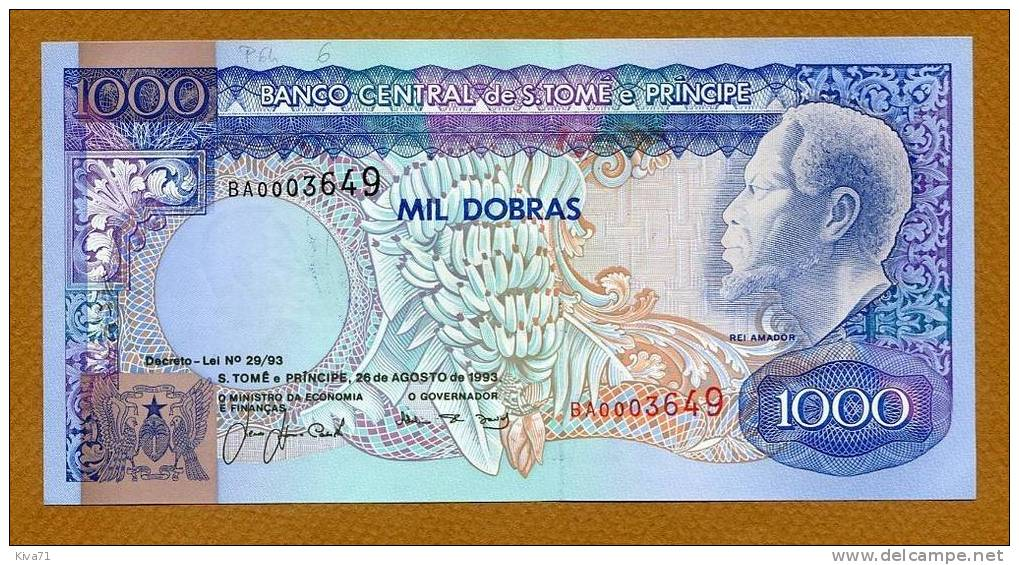 """**Pas Courant** 1000 Dobras   """"Sao Tomé Et Principe""""  1993  P64  UNC     Bc126 - Sao Tomé Et Principe"""