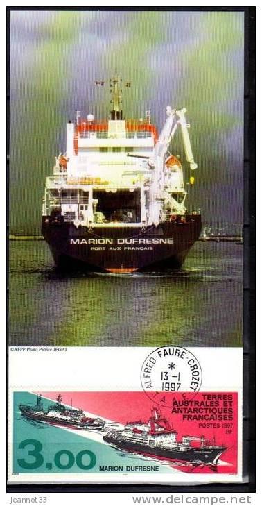 MARION DUFRESNE CACHET DE LA BASE ALFRED FAURE - CROZET - Terres Australes Et Antarctiques Françaises (TAAF)