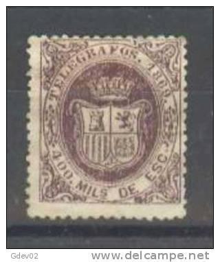 ESTGF30-L3303TE..Espagne. Spain.ESCUDO   DE ESPAÑA.TELEGRAFOS  DE ESPAÑA .1869 (Ed 30*)  Charnela.MUY BONITO. - Sellos
