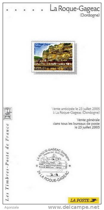 DOCUMENT EMISSION TIMBRE 2005 - MAISON FORTIFIES A LA ROCHE - LA ROQUE-GAGEAC - DORDOGNE - Documentos Del Correo