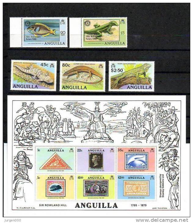 BL25, Nr 387/388, 796/798 **, Michel = 18 Euro (E08512) - Anguilla (1968-...)