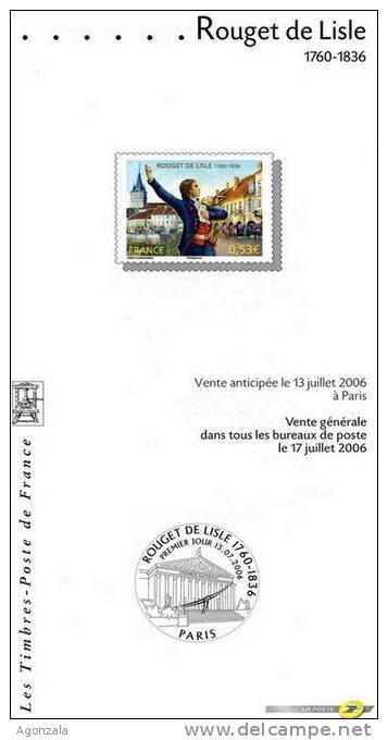 DOCUMENT EMISSION TIMBRE 2006 - L´ HIMNE NATIONAL SON AUTOT ROUGET DE LISLE - Documentos Del Correo