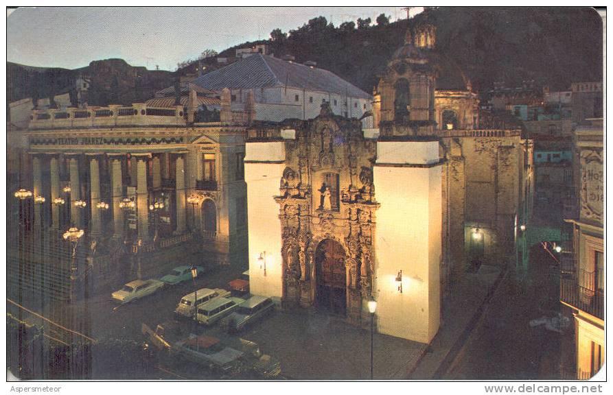 MEXICO, GUANAJUATO - TEMPLO JUAREZ Y TEMPLO DE SAN DIEGO. VISTA NOCTURNA CPSM POSTAL CUAC - Mexique