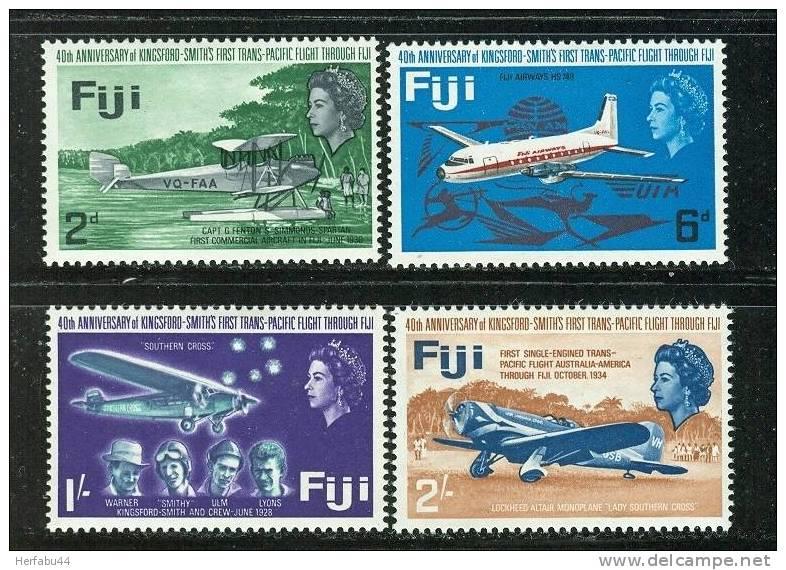 Fiji      Trans-Pacific Flight   Set    SC# 236-39 Mint - Avions