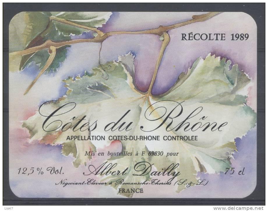THEME PLANTES étiquette De Vin COTES DU RHONE FEUILLE - Leaves