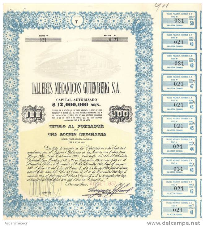 1 ACCION SHARE ARGENTINA TALLERES MECANICOS GUTENBERG SOCIEDAD ANONIMA SA MJL  1957/60 - Industrie
