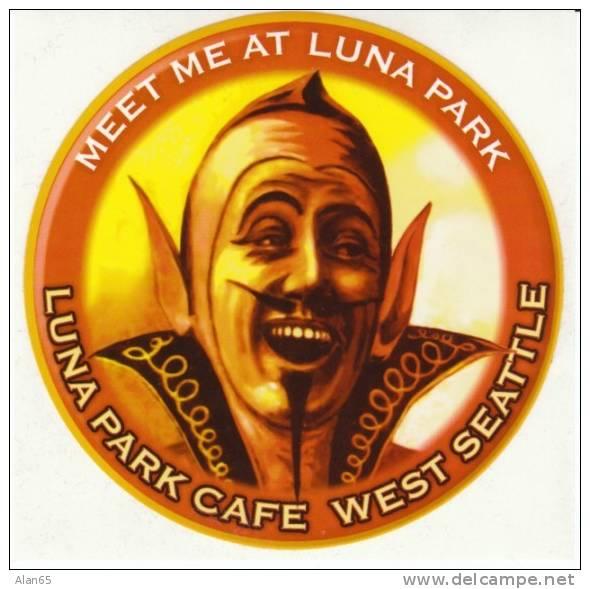 Luna Park Restaurant West Seattle WA Devil 'Meet Me At Luna Park' Advertising Promotional Sticker - Stickers