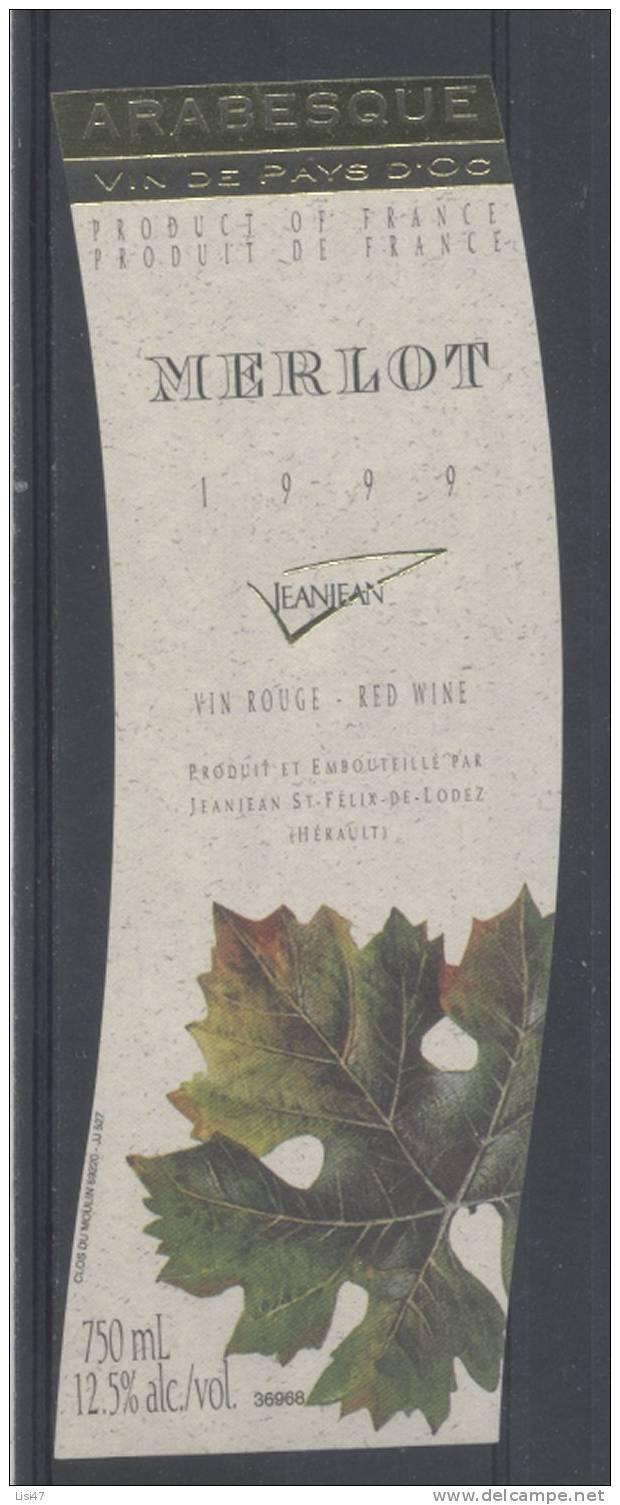 THEME PLANTES étiquette De Vin PAYS D´OC MERLOT / FEUILLES 2 - Leaves