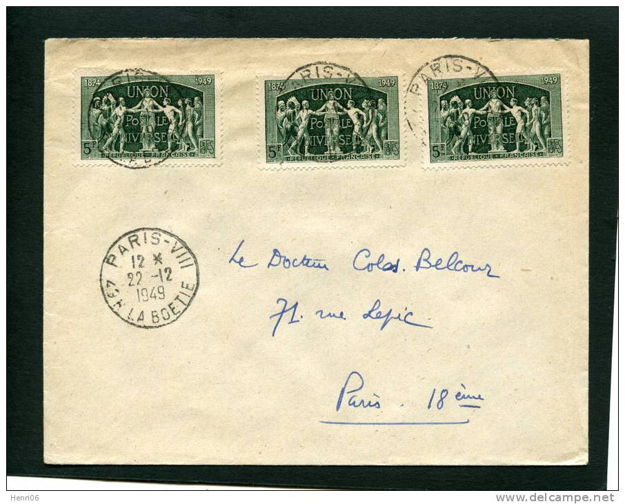 =*= 850x3 Période D´émission Sur Belle Lettre Au Tarif Cachet Manuel Paris-VIII La Boétie 22 Décembre 1949 =*= - Frankrijk