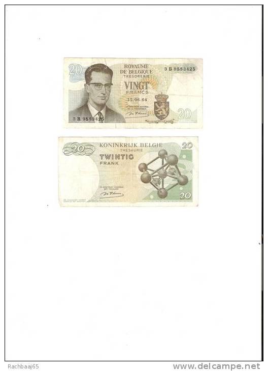 BILLET DE BANC DE BELGIQUE 20 FR 15/06/1964 N° 3G4667364 TB - Belgium