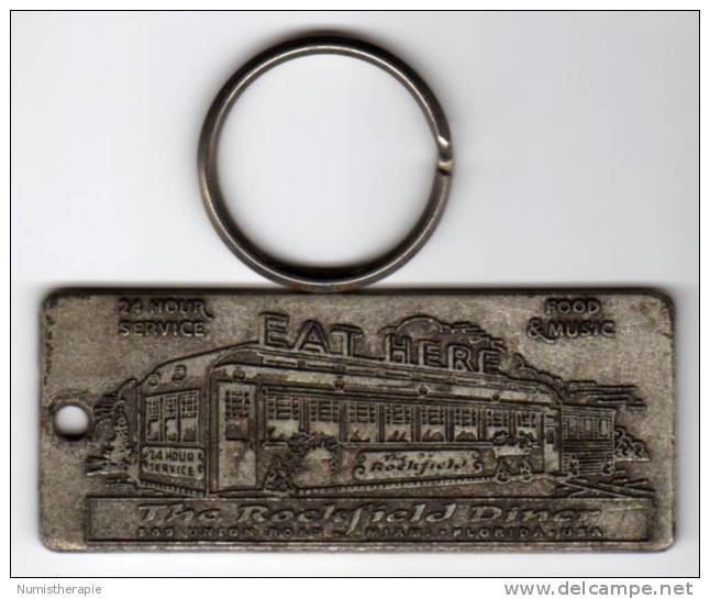 USA : Porte-Clefs Publicité Keyring : The Rockfield Diner, Miami Florida - Key-rings