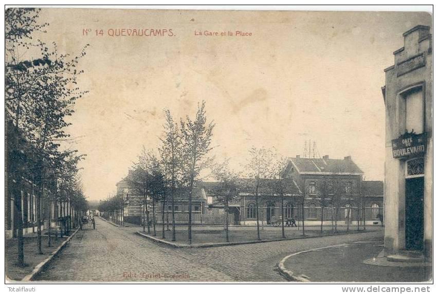 QUEVAUCAMPS La Gare Et La Place Cafe Du Boulevard 24.2.1913 Circulee - Ath
