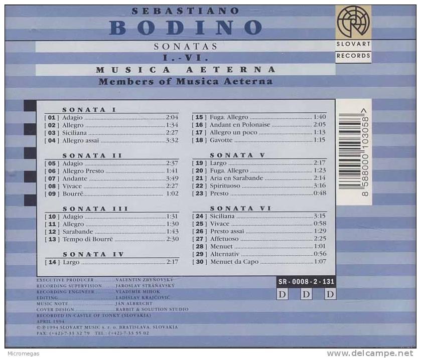 Bodino : Sonates I à VI, Musica Aeterna - Classique