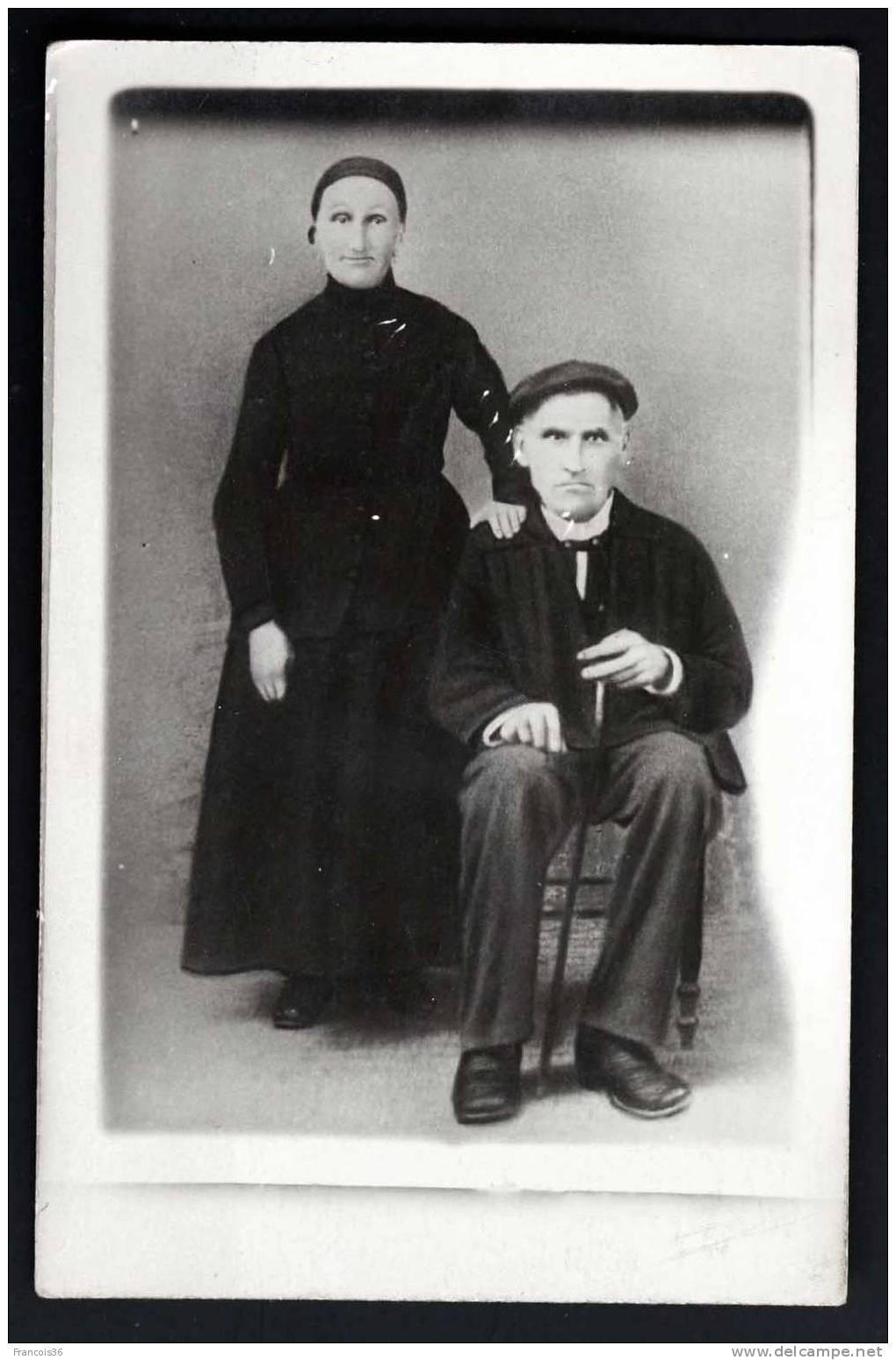 Couple Basque - Rare Carte Photo - Pays Basque - Dos Vierge - France