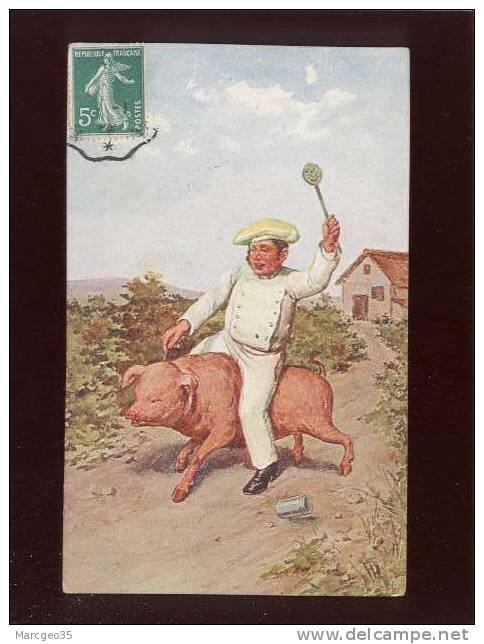 Cuisinier Chevauchant Un Cochon  Pas D'édit.belle Carte - Cochons