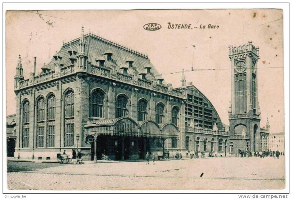 Oude Postkaart Oostende La Gare (pk195) - Oostende