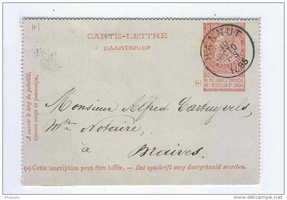 Carte-Lettre Fine Barbe Simple Cercle HANNUT 1895 Vers BRAIVES - Origine BLEHEN   --  KK622 - Entiers Postaux