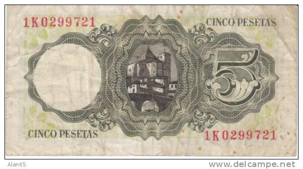 Spain 5 Pesetas 1951 Banknote Currency Krause #140 - [ 3] 1936-1975 : Regency Of Franco
