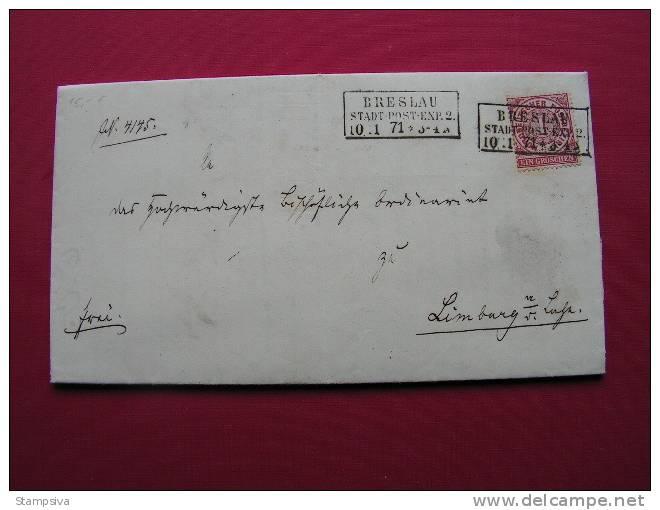 == Polen , Breslau 1871 Stadt Post  - Limburg - Conf. De Alemania Del Norte