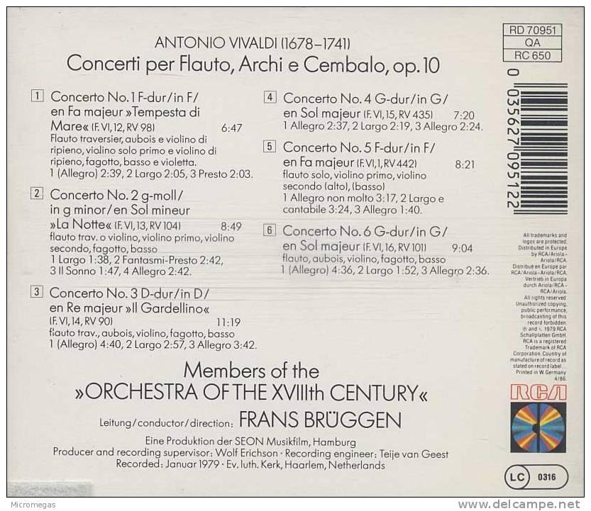 Vivaldi :6 Concertos Pour Flûte Op.10, Brüggen - Klassik